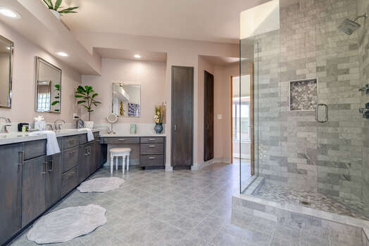 Master Bath with a Large Tile & Glass Shower and a Walk-in Closet