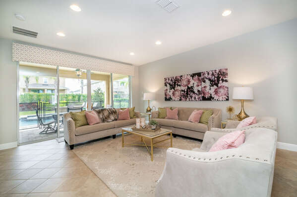 living room with 2 sofas and 2 accent chairs for your comfort
