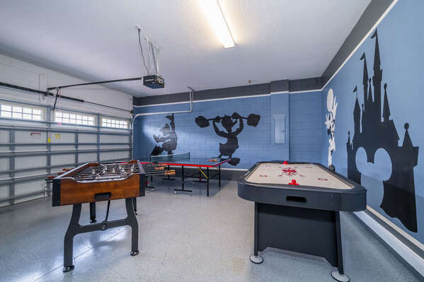 games room with ping pong, air hockey and foosball