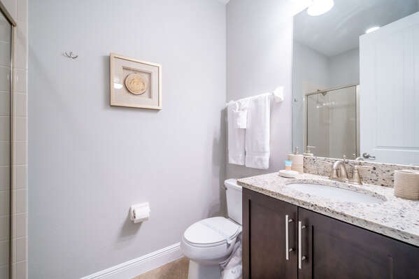 Bathroom #5 with stand up shower and single sink vanity