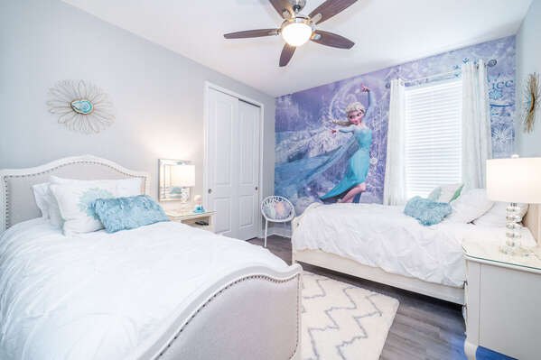 Bedroom #6 has a winter wonderland theme with 2 twin beds