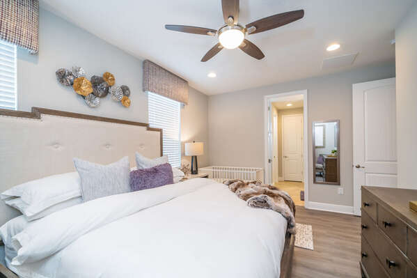 View of king bed in 2nd master bedroom