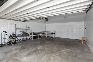 Garage hangout area with a ping-pong table.