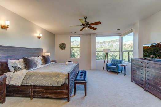Master Bedroom with a King Bed and 40