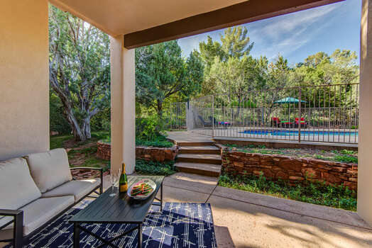 Back Patio and Access to the Private Pool and Hot Tub