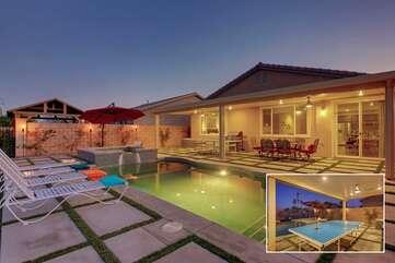 Contemporary backyard with dining, ping pong, bbq, pool, spa and lake views