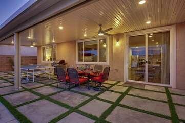 Huge outdoor living area with fan & lighting