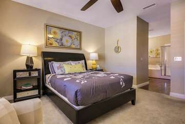 The master bedroom has an attached, private full bathroom
