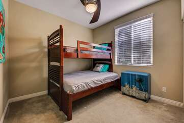 Bedroom 3 has a twin over full size bunk to sleep 3 in this room