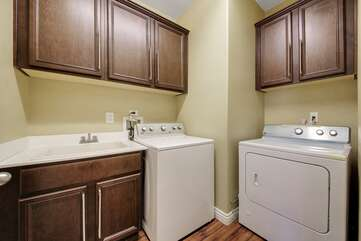 Take advantage of the newer washer/dryer and go home with clean clothes