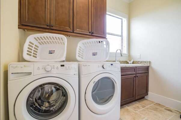 In house washer and dryer for your convenience
