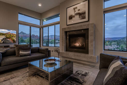 Enjoy the Cozy Fireplace and Views as the Sun Goes Down