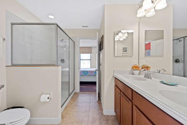 The room is connected to a Jack and Jill bathroom