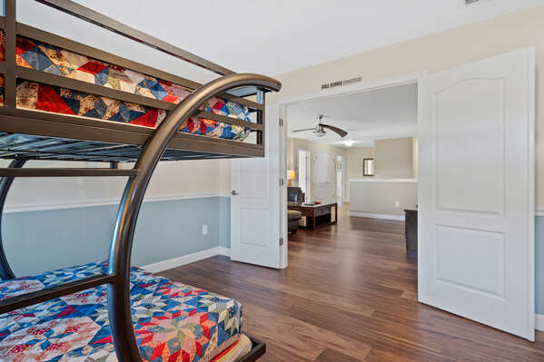 The bedroom leads right to the loft