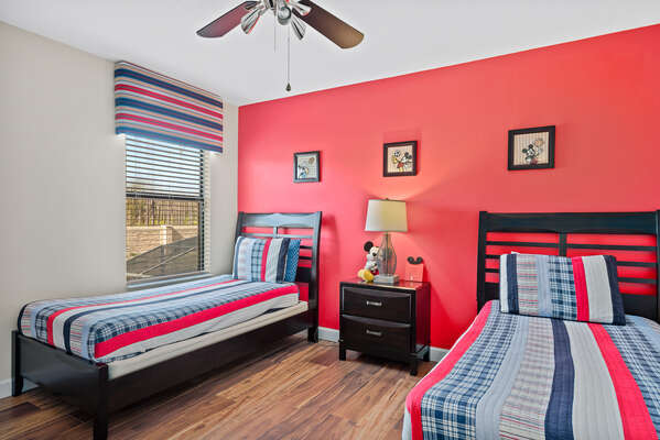 Kids get to have their own room with 2 twin beds