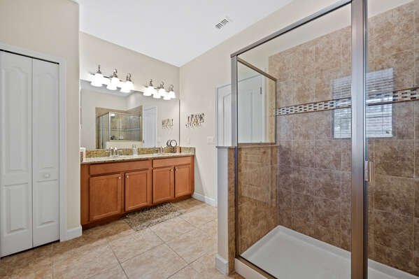 There's plenty of room for you and a loved one to get ready together at the dual vanity