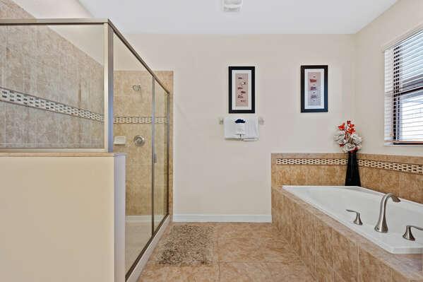 Enjoy this large ensuite bathroom
