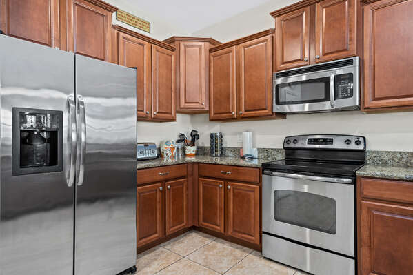 Stainless steel appliances give a sleek appearance