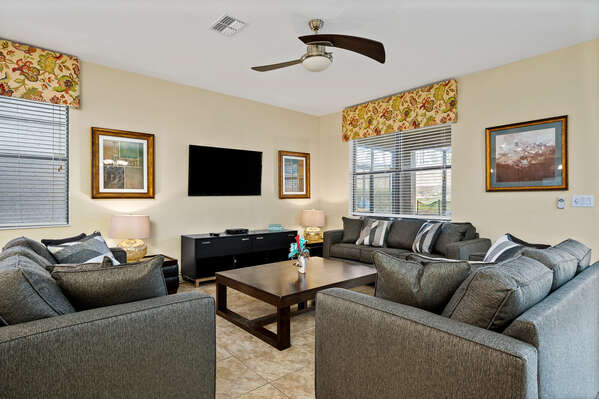 Get comfortable on the large sectional in the living area