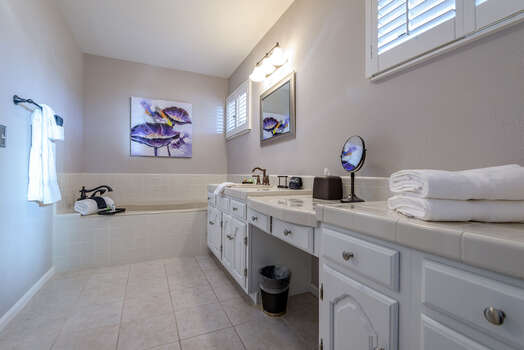 Master Bath with a Large Vanity and Soaking Tub