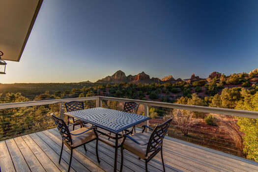 After a Day of Exploring or Hiking, Relax on the Deck and Enjoy the Red Rock Views at Sunset!