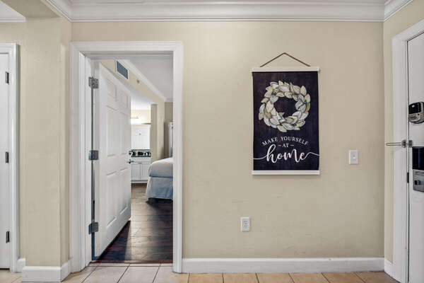 Entry way starting with two bedrooms