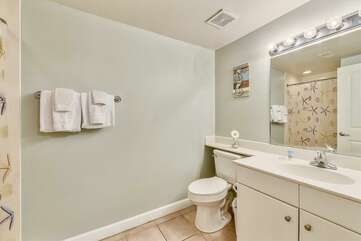 Bathroom adjacent to bunk beds