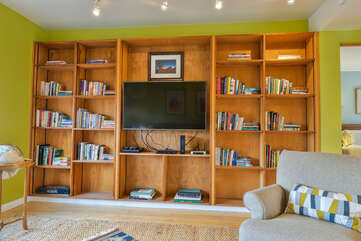 View of the Entertainment Center and Living Room Shelving in the Hazel Cottage