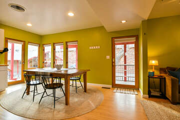 Dining Area and Outdoor Access within Hazel Lodging in Moab Utah