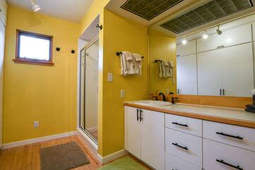 Yellow Bathroom in the Hazel Rental Cottage