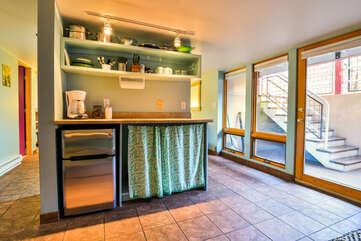 Fully Stocked Kitchenette inside the Violet Rental Cottage