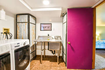Utility Room and Laundry Area in Violet Cottage Lodging in Moab Utah