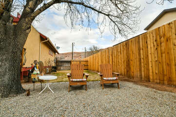 Gated Outdoor Seating and Lounge Area of our Moab Utah Rental