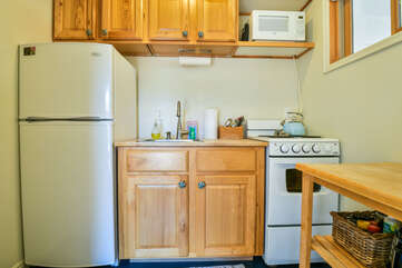 Compact Kitchen Fully Stocked in the Scarlet Cottage