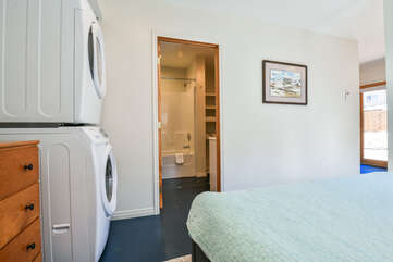 Washer and Dryer within the Bedroom of the Scarlet Rental Cottage