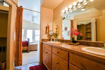 Master Bathroom with Great Lighting Rim Village Lodging