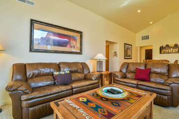 Living Room with Plenty of Seating in a Rim Village Rental