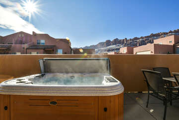 Private Hot Tub Ready for Guests of this Rim Village Rental