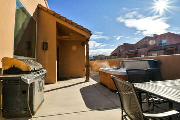 Patio with Private Hot Tub and Grill Rim Village Lodging