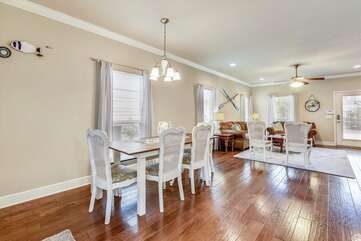 Dining room with table that seats 6 attached to the living area