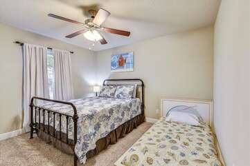 Queen bedroom with an additional twin bed