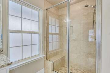 Stand up tile shower with bench seat
