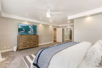Master with King Bed and large flat screen Smart TV.