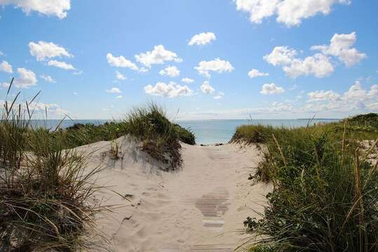 Path through the dunes to the private beach -27 Fiddlers Green Lane-Dennis Port-New England Vacation Rentals