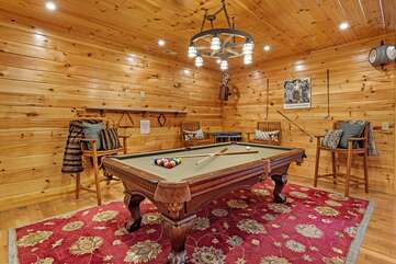 Lower level game room with full size slate pool table