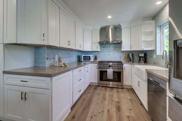 State-of-the-Art Kitchen on the Second Floor with stainless steel appliances.