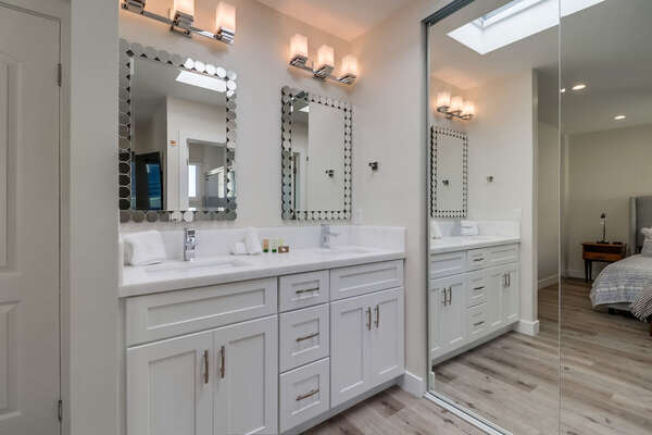 Master Ensuite Bath with Double Vanity sink.