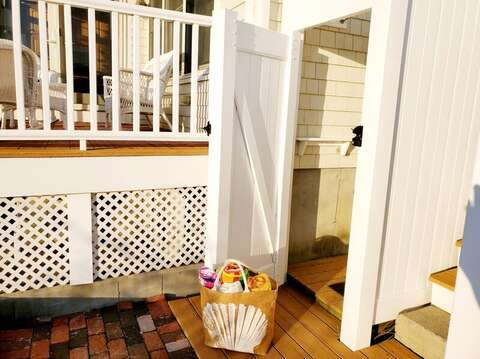 Wash off the sand from your private beach in this fully enclosed out door shower.27 Fiddlers Green Lane-Dennis Port-New England Vacation Rentals