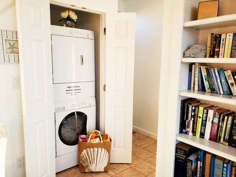 Neatly tucked away in a closet on the first floor is a stack-able full size washer and dryer. 27 Fiddlers Green Lane-Dennis Port-New England Vacation Rentals