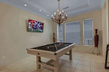 Step into the great game-room and challenge your friends at a game of pool. Winner gets to choose what plays on the TLC by Roku Smart television.
